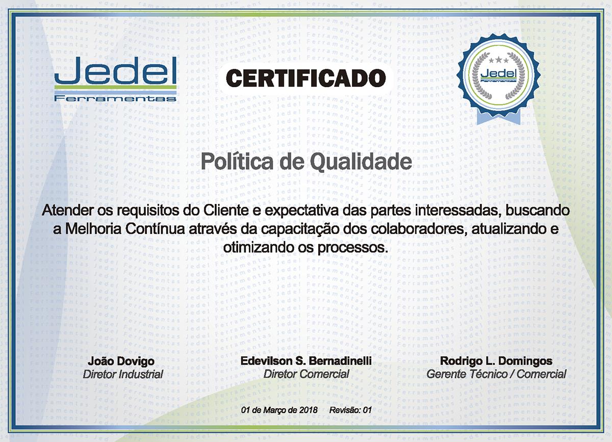 Jedel || Certificado de Qualidade